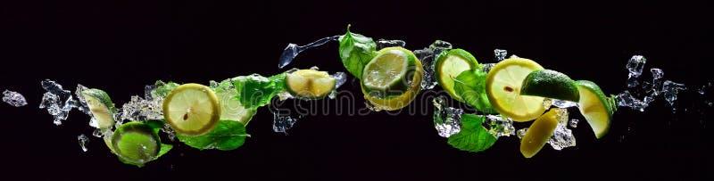 Pedazos de la cal y del limón con la hierbabuena fotografía de archivo