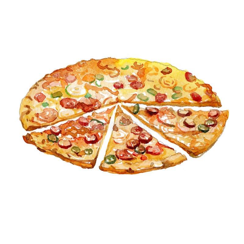 Pedazos de la pizza de la acuarela ilustración del vector