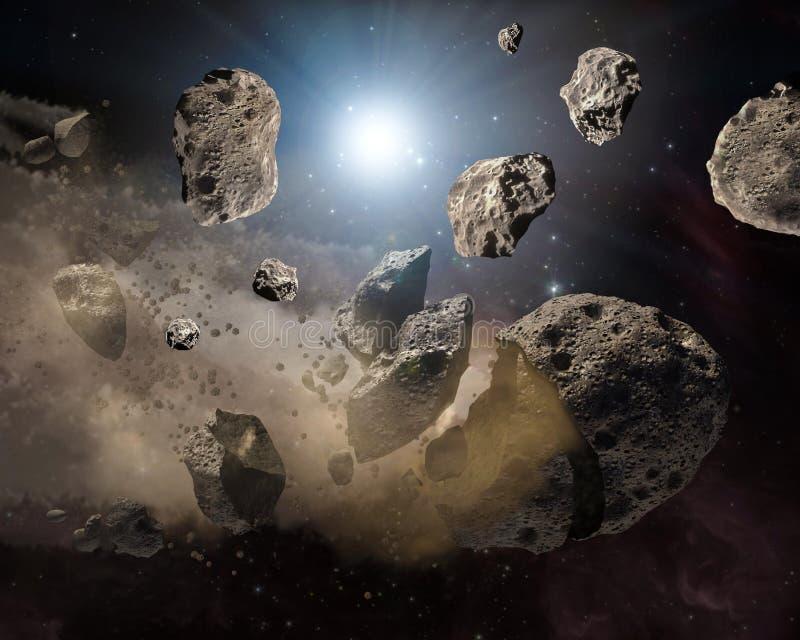 Pedazos de los meteoritos de la imagen del espacio profundo de la luna, del ideal de la fantas?a de la ciencia ficci?n para el pa fotografía de archivo libre de regalías