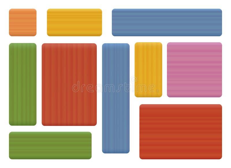 Pedazos de madera coloreados stock de ilustración