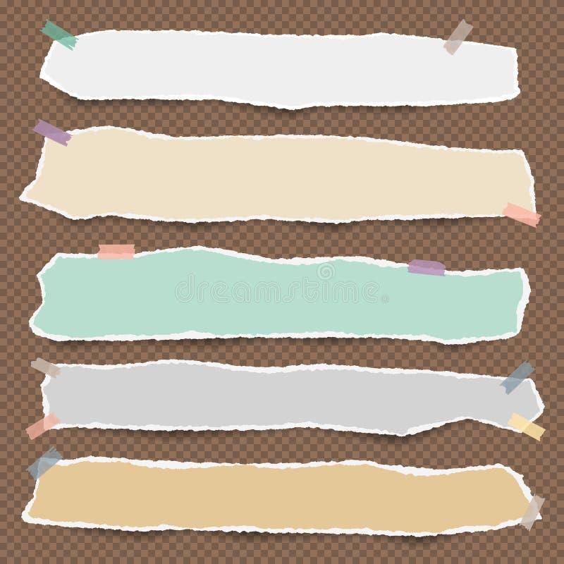 Pedazos de nota en blanco blanca rasgada, de papel del cuaderno con las nubes y de sol en fondo azul stock de ilustración