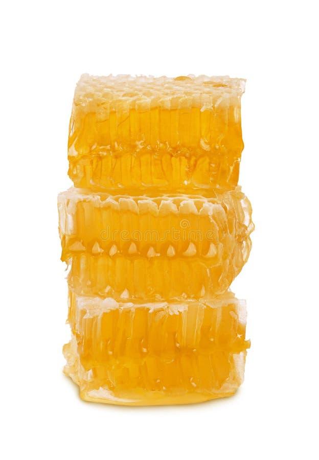 Pedazos de panal con el soporte de la miel y de la cera de abejas aislado verticalmente en el fondo blanco imágenes de archivo libres de regalías