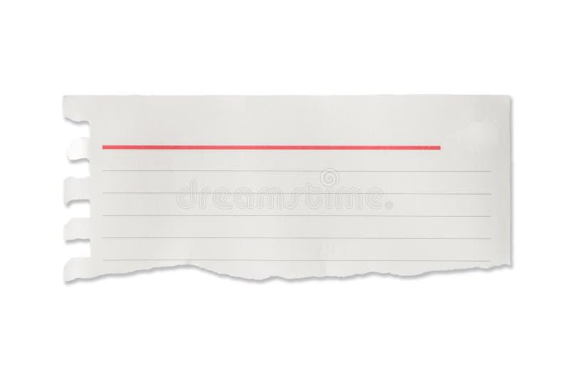 Pedazos de papel alineados rasgados, aislados imagen de archivo