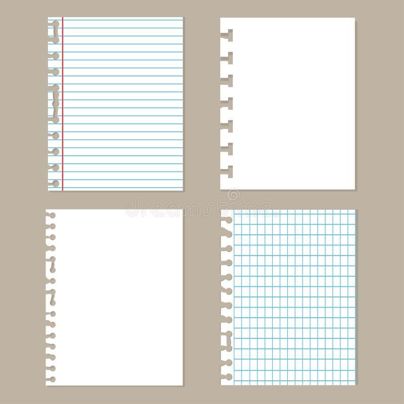 Pedazos de papel rasgado Sistema de diverso papel del cuaderno Hojas de la escuela stock de ilustración