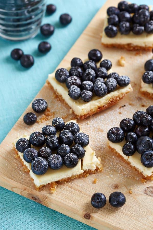 Pedazos de pastel de queso del arándano foto de archivo