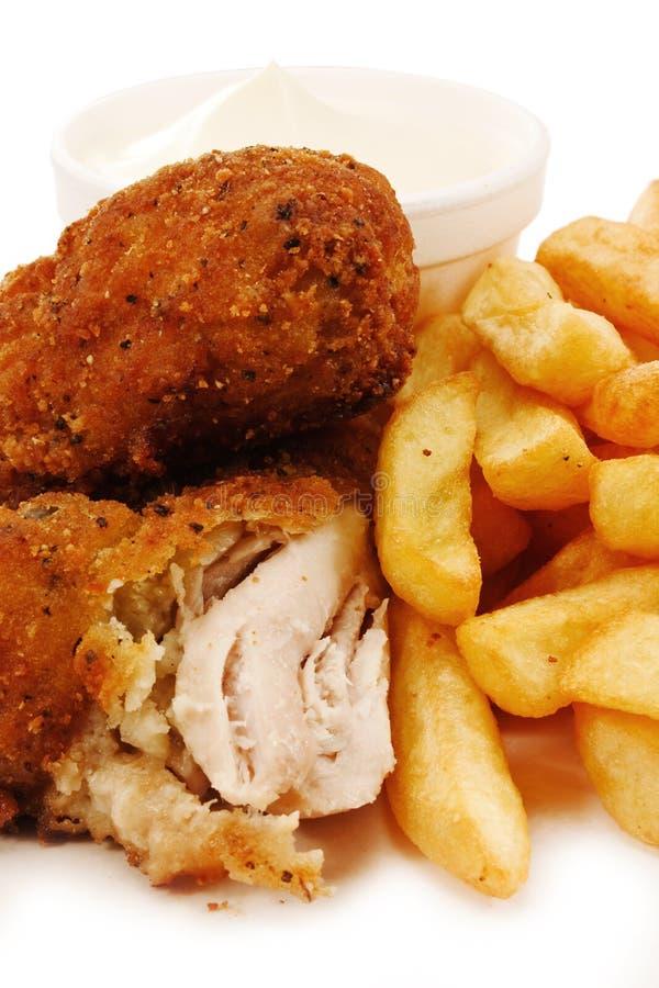 Pedazos de pollo frito meridional foto de archivo libre de regalías
