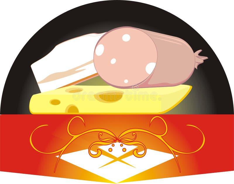Pedazos de un queso, de una salchicha y de un tocino ilustración del vector