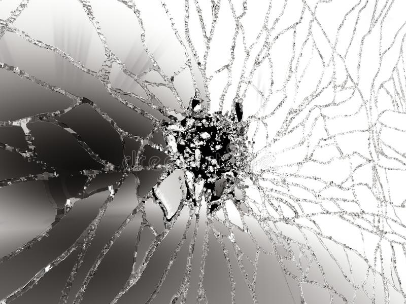 Pedazos de vidrio roto destructed en negro libre illustration