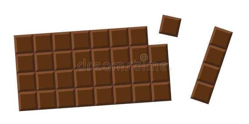 Pedazos del choco de la leche entera de la barra de chocolate stock de ilustración