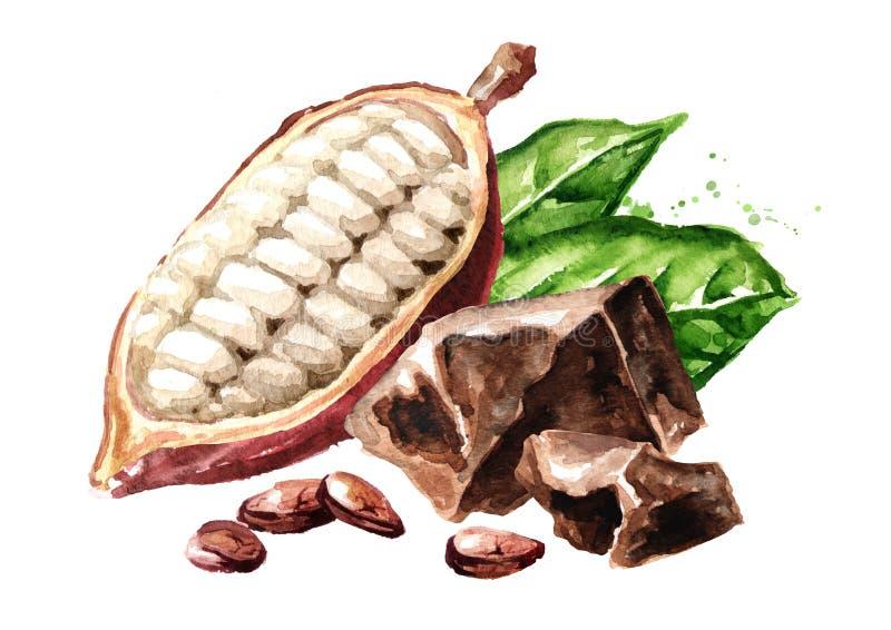 Pedazos del chocolate y granos de cacao con la vaina y las hojas verdes Superfood ejemplo dibujado mano de la acuarela, aislado e stock de ilustración