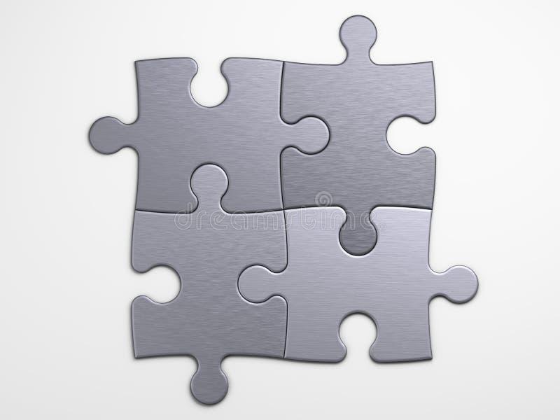 Pedazos del metal de rompecabezas para poner conceptos ilustración del vector