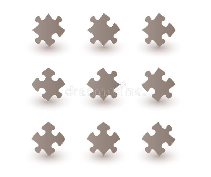 Pedazos del rompecabezas de Brown ilustración del vector