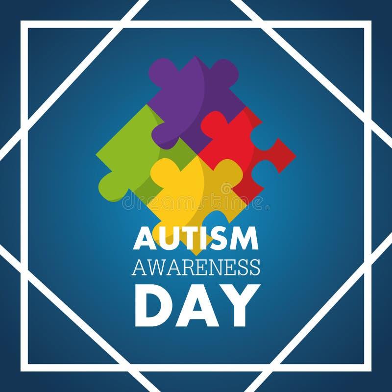 Pedazos del rompecabezas de la tarjeta de la invitación del día de la conciencia del autismo ilustración del vector