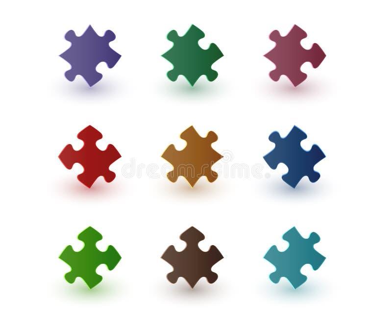 Pedazos del rompecabezas del color stock de ilustración