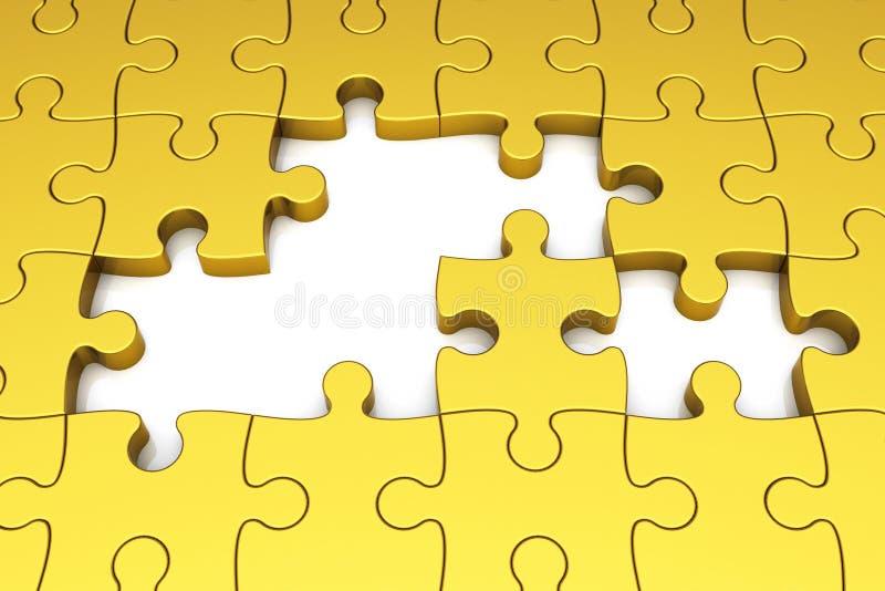 Pedazos del rompecabezas del oro stock de ilustración