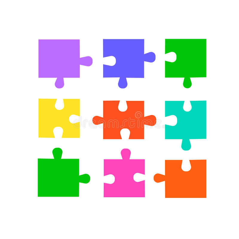Pedazos del rompecabezas fijados Rompecabezas coloreados del vector para el diseño libre illustration