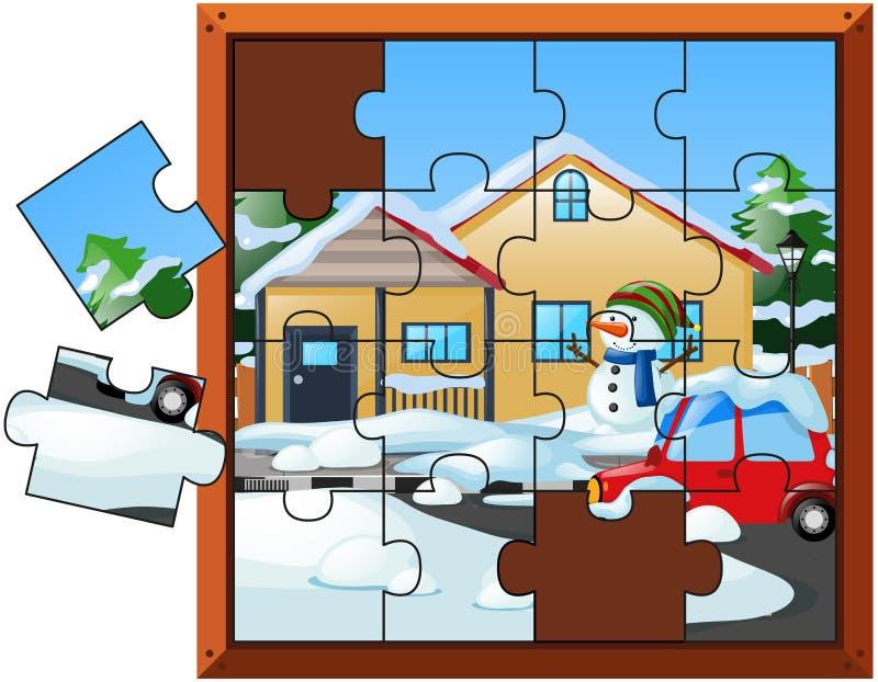 Pedazos del rompecabezas para la casa en invierno ilustración del vector
