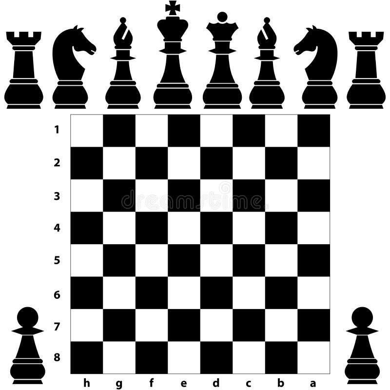 Pedazos del tablero de ajedrez ilustración del vector