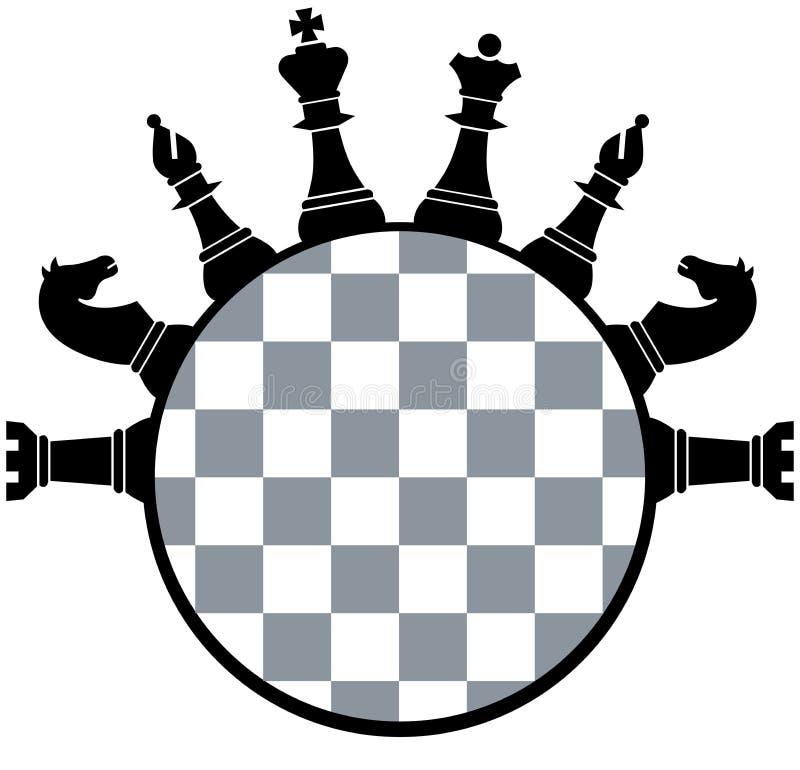 Pedazos del tablero de ajedrez stock de ilustración