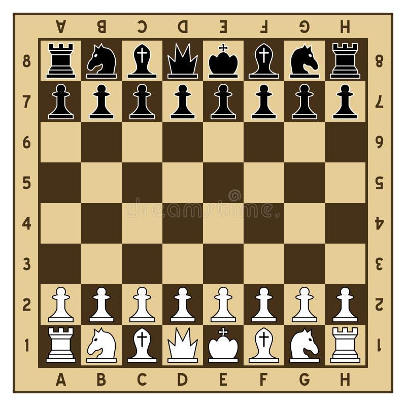 Pedazos del tablero de ajedrez y de ajedrez ilustración del vector