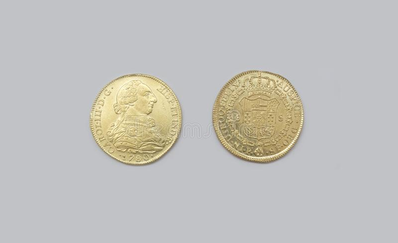 Pedazos españoles del oro de ocho o escudos de Charles III imagen de archivo libre de regalías