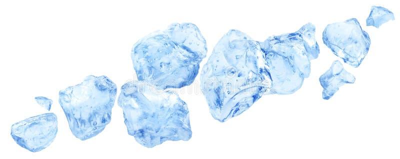Pedazos que caen del hielo, mont?n del hielo machacado aislado en el fondo blanco ilustración del vector