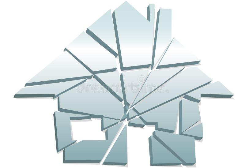 Pedazos rotos símbolo casero quebrado de la casa del concepto stock de ilustración