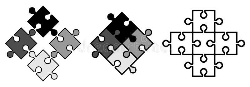 Pedazos simples del rompecabezas Los objetos del vector rompen el uno al otro, stock de ilustración