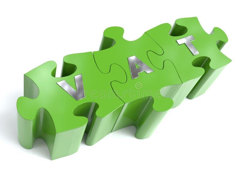 Pedazos verdes del rompecabezas con palabra del IVA del metal ilustración del vector