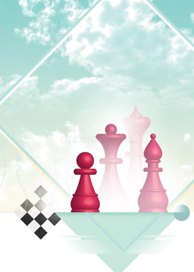 Pedazos y estrategia de ajedrez ilustración del vector