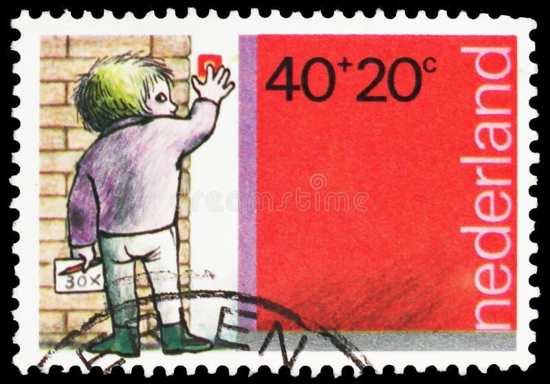 Peddling boy, Children Stamps serie, circa 1978 stock photography