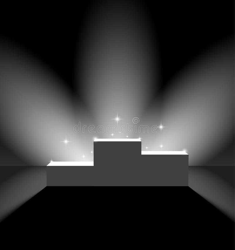 Pedestal in black lightened room royalty free illustration