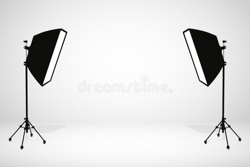 Pedestal blanco para la exhibición Plataforma para el dise?o Soporte en blanco del producto con la luz de SoftBox representaci?n  ilustración del vector