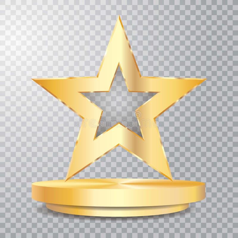 Pedestal de la estrella del oro del transporte stock de ilustración
