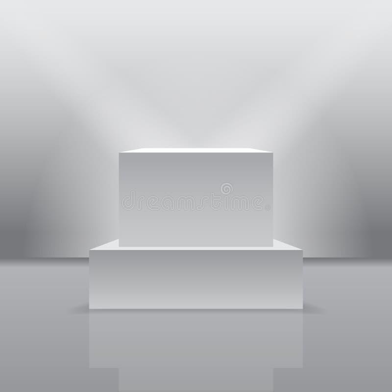 Pedestal de la exposición en la forma realista 3d stock de ilustración