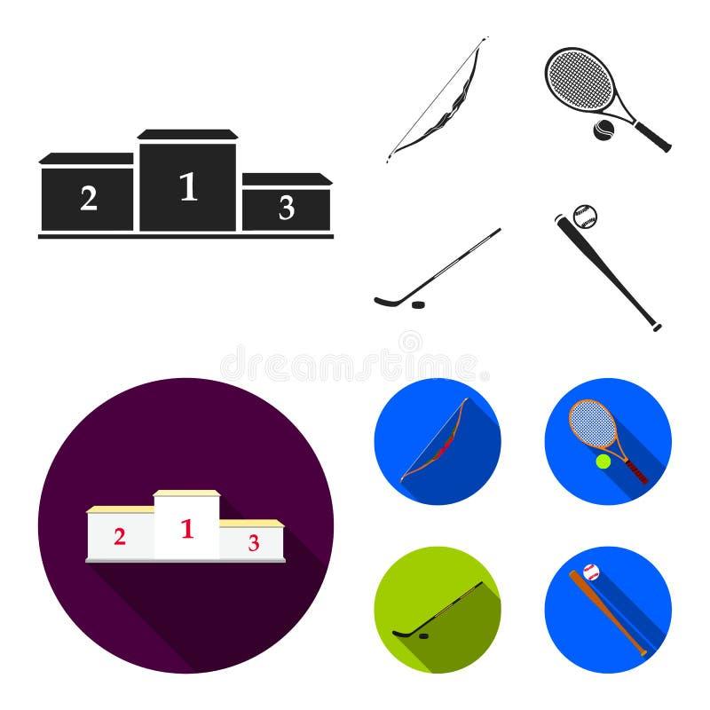Pedestal del honor para los ganadores, del arco para las flechas que tiran, de la estafa con una bola para el tenis, del palillo  libre illustration