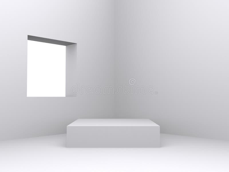 Pedestal inside isolated white room vector illustration