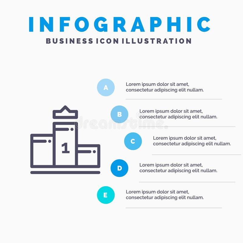 Pedestal, primero, primer lugar, pasos azules de la plantilla 5 de Infographics de la educación L?nea plantilla del vector del ic ilustración del vector