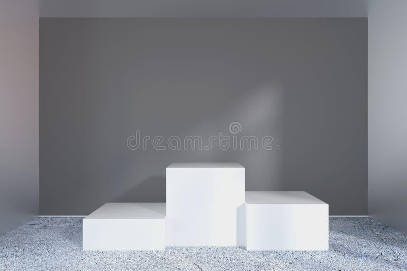 Pedestal vacío blanco y pared negra representación 3d ilustración del vector