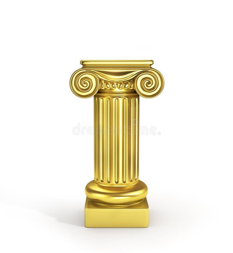 Pedestal vacío de la columna del oro stock de ilustración