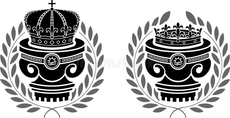 Pedestales de coronas ilustración del vector