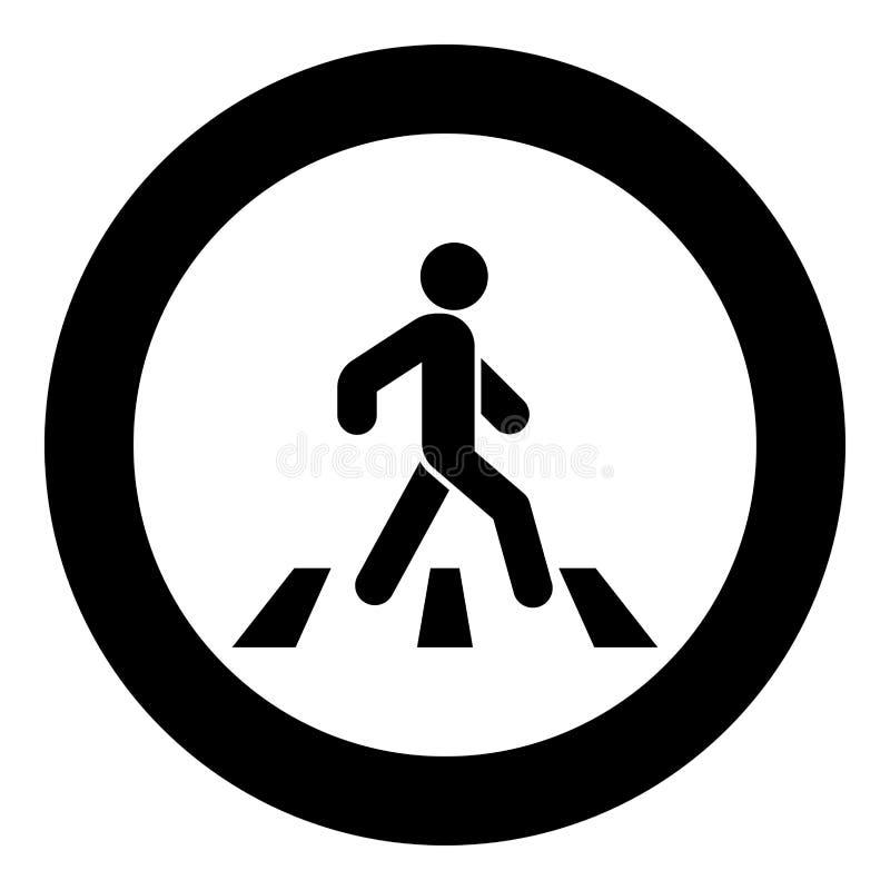Pedestre na imagem simples da ilustração do vetor da cor do preto do ícone do cruzamento de zebra ilustração do vetor