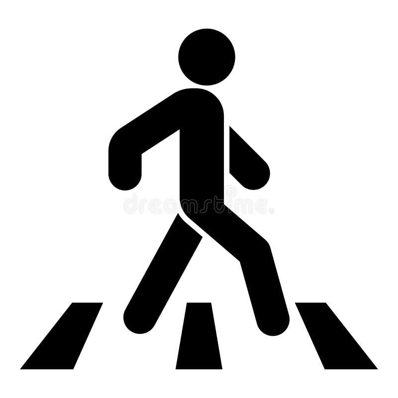 Pedestre na imagem simples do estilo liso da ilustração de cor do preto do ícone do cruzamento de zebra ilustração stock