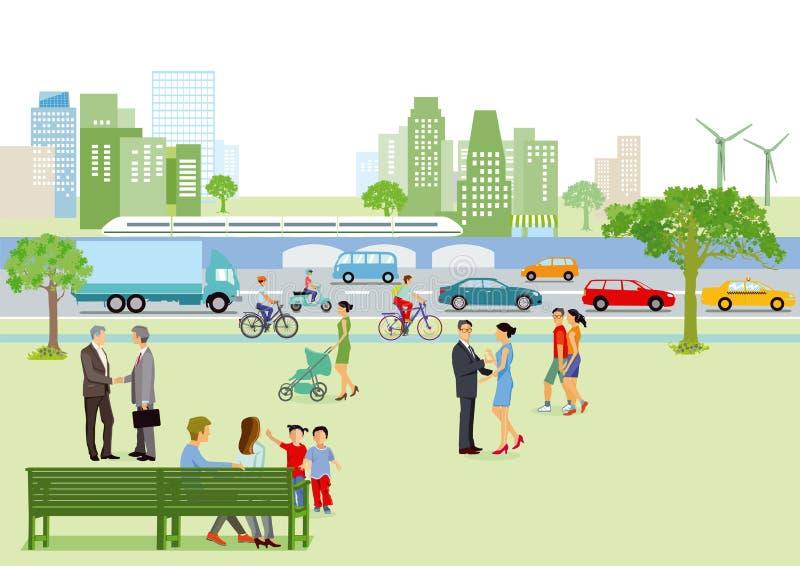 Pedestres e tráfego na cidade ilustração stock