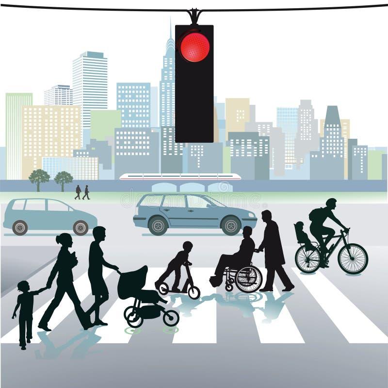 Pedestres em faixas de travessia ilustração do vetor