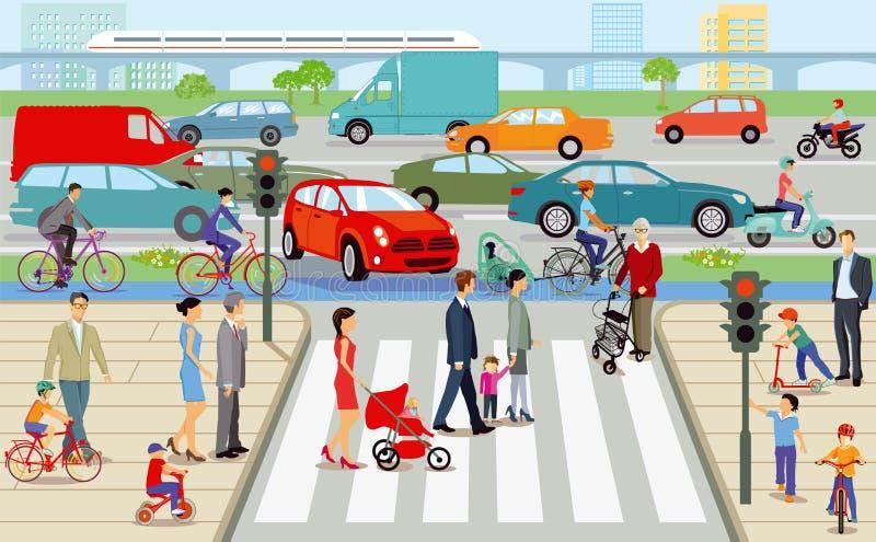 Pedestres no cruzamento de zebra ilustração royalty free