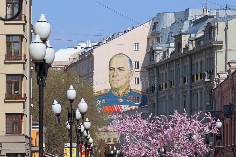 The pedestrian Arbat street in Moscow on a spring day stock image