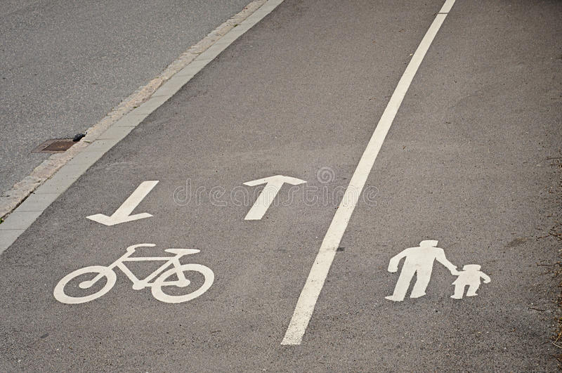 Download Pedestrian And Bicycle Reserved Lanes Stock Image - Image: 20895871