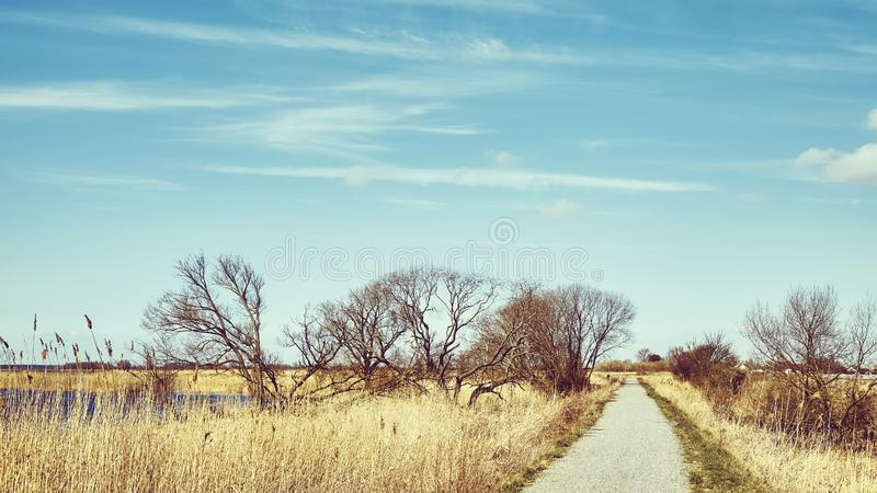 Pedestrian and bike path trail by a lake royalty free stock photography