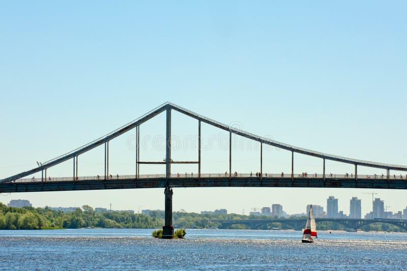 Pedestrian bridge in Kiev royalty free stock images